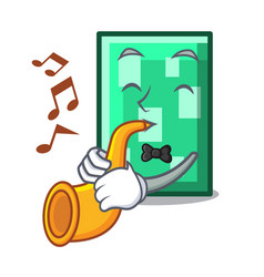 With trumpet rectangle mascot cartoon style vector