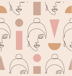 Woman faces and geometric figures vector