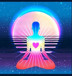 Yoga silhouette over colorful neon vibrant vector