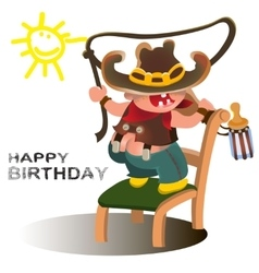 Young cowboy with western hat happy kid vector