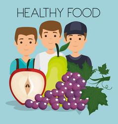 young men with fruits healthy food vector image