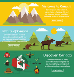 canada travel banner horizontal set flat style vector image vector image