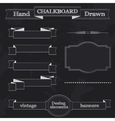 Chalkboard Style Banners Ribbons and Frames vector image vector image