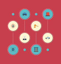 flat icons suspicious thumbprint jail and other vector image vector image