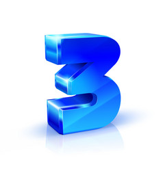 glossy blue three 3 number 3d on vector image vector image