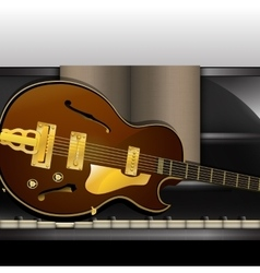 piano front view close-up and guitar vector image
