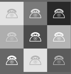 retro telephone sign grayscale version of vector image