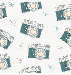 seamless pattern with retro hand drawn hipster vector image
