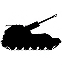 self propelled artillery gun silhouette vector image