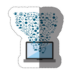 sticker color background with laptop and internet vector image vector image