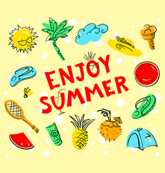 enjoy summer lettering summer set doodle vector image vector image