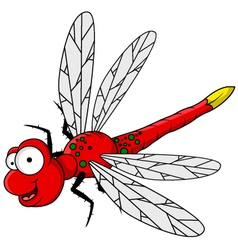 funny red dragonfly cartoon vector image