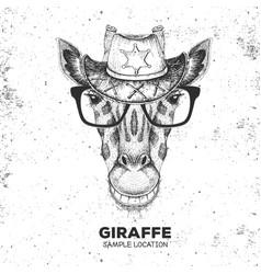 Hipster animal giraffe hand drawing muzzle vector