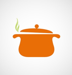 Logo of the pan with steam vector image vector image