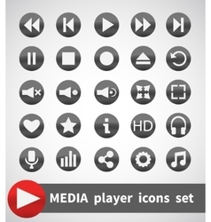 Media Player Icons Set Multimedia Isolated vector image