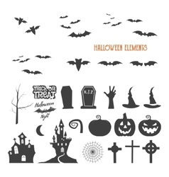 Set of halloween design creation tool kit Icons vector image
