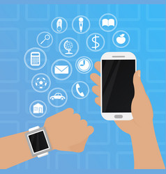smart watch on hand with phone vector image