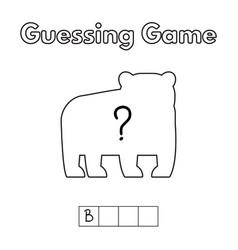 cartoon bear guessing game vector image vector image