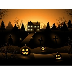Halloween haunted house background vector image vector image