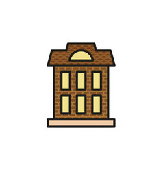 isolated brown color low-rise municipal house in vector image vector image