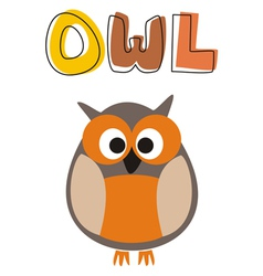 O is for owl - owl under school hand drawn word vector image vector image