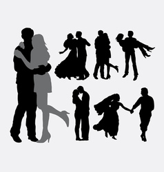 Romantic love and tenderness silhouette vector image