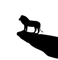 Isolated lion silhouette on the rock vector image vector image
