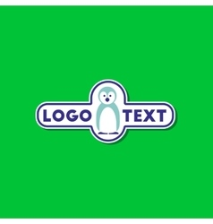 paper sticker on stylish background penguin logo vector image vector image