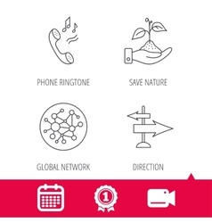 Phone global network and direction icon vector