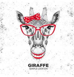 Retro hipster animal giraffe hand drawing muzzle vector
