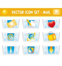 set internet mail icons vector image vector image