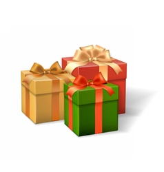 Set of gift boxes different colors vector image