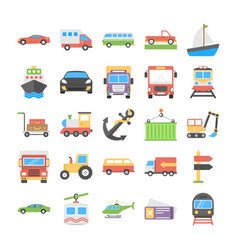 transport flat icons collection vector image