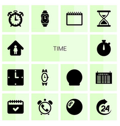 14 time icons vector
