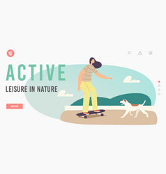 active leisure in nature landing page template vector image