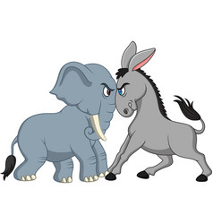 American politics - democratic donkey versus repub vector