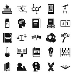 Answers on questions icons set simple style vector