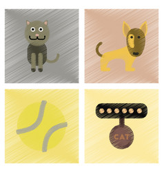 assembly flat shading style icons pets and vector image