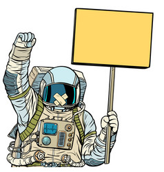 Astronaut with gag protesting isolate on white vector