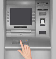 Atm screen monitor of payment machines hand vector
