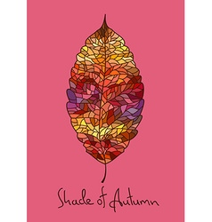 Autumn leaf made of mosaic vector