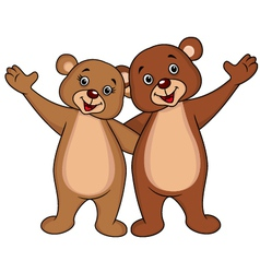 Bear couple cartoon waving hands vector
