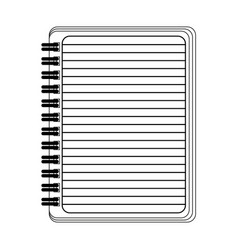 blank notepad open symbol isolated in black and vector image
