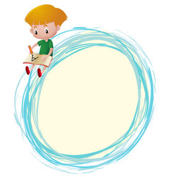 Border template with boy writing on book vector