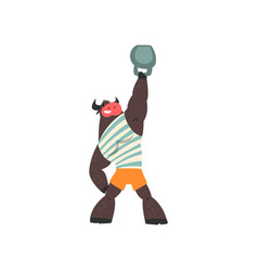 Bull weightlifter lifting kettlebell funny vector