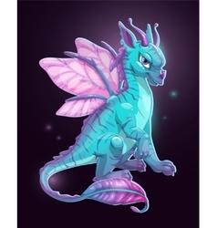 Cartoon blue fantasy dragon vector image vector image