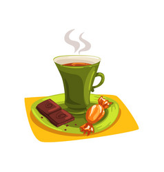 Cartoon cup of hot tea on saucer with candy and vector