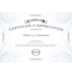 Certificate appreciation template with silver vector