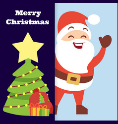 christmas banner with happy santa vector image