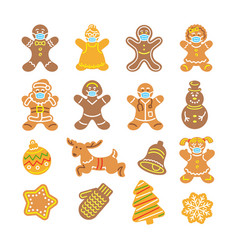 christmas gingerbread cookies in medical masks vector image